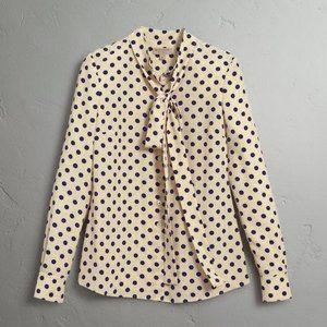 NWT Burberry Dotted Silk Shirt
